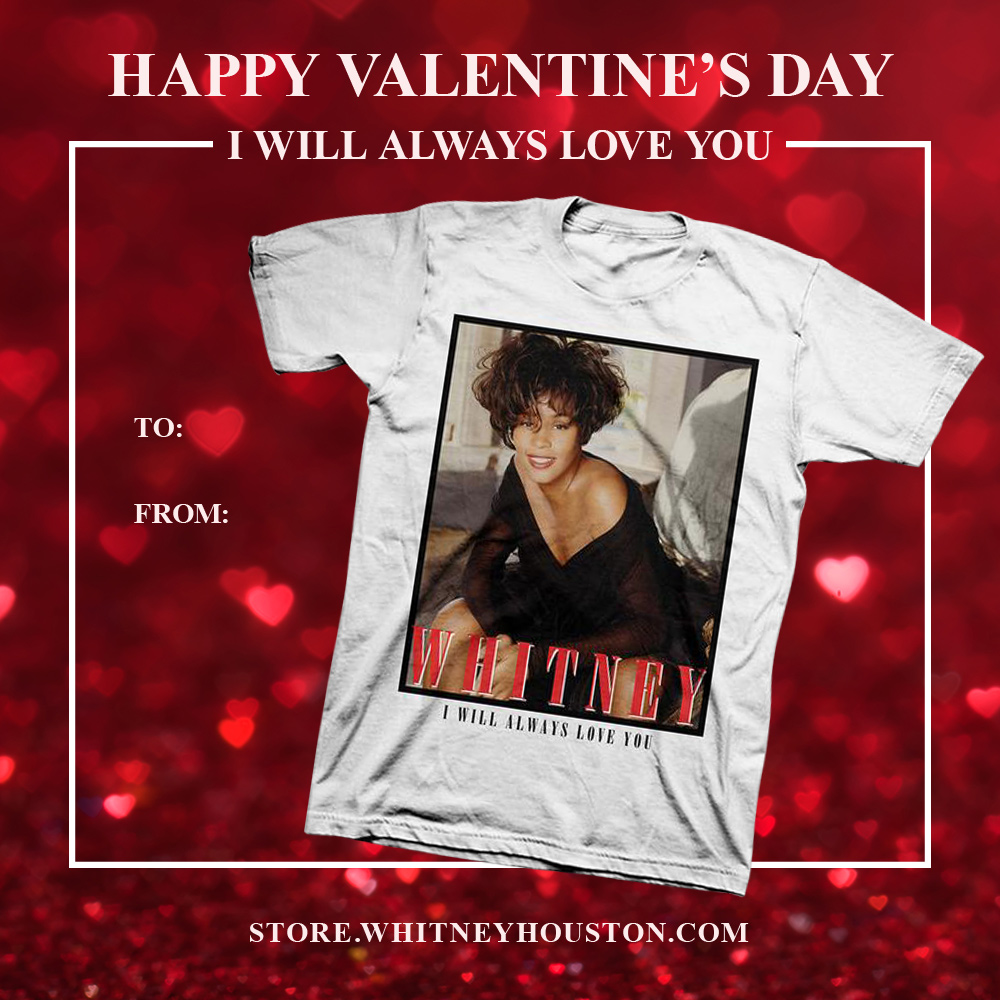 Whitney Houston merch for Valentine's Day