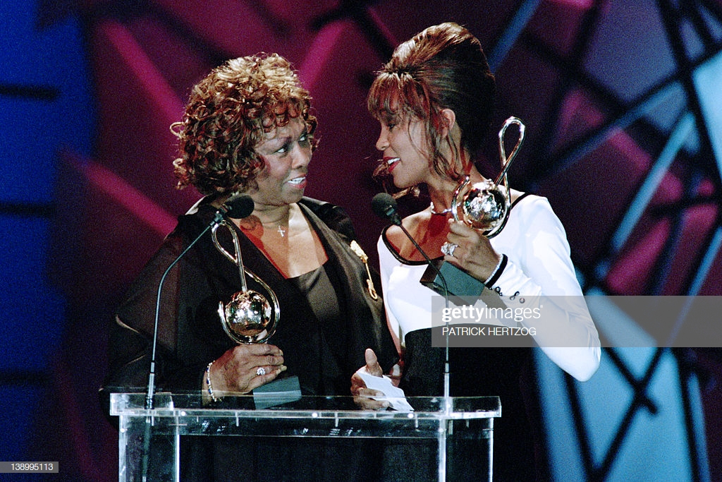 Whitney Houston presented World Music Awards by mother Cissy Houston May 1994