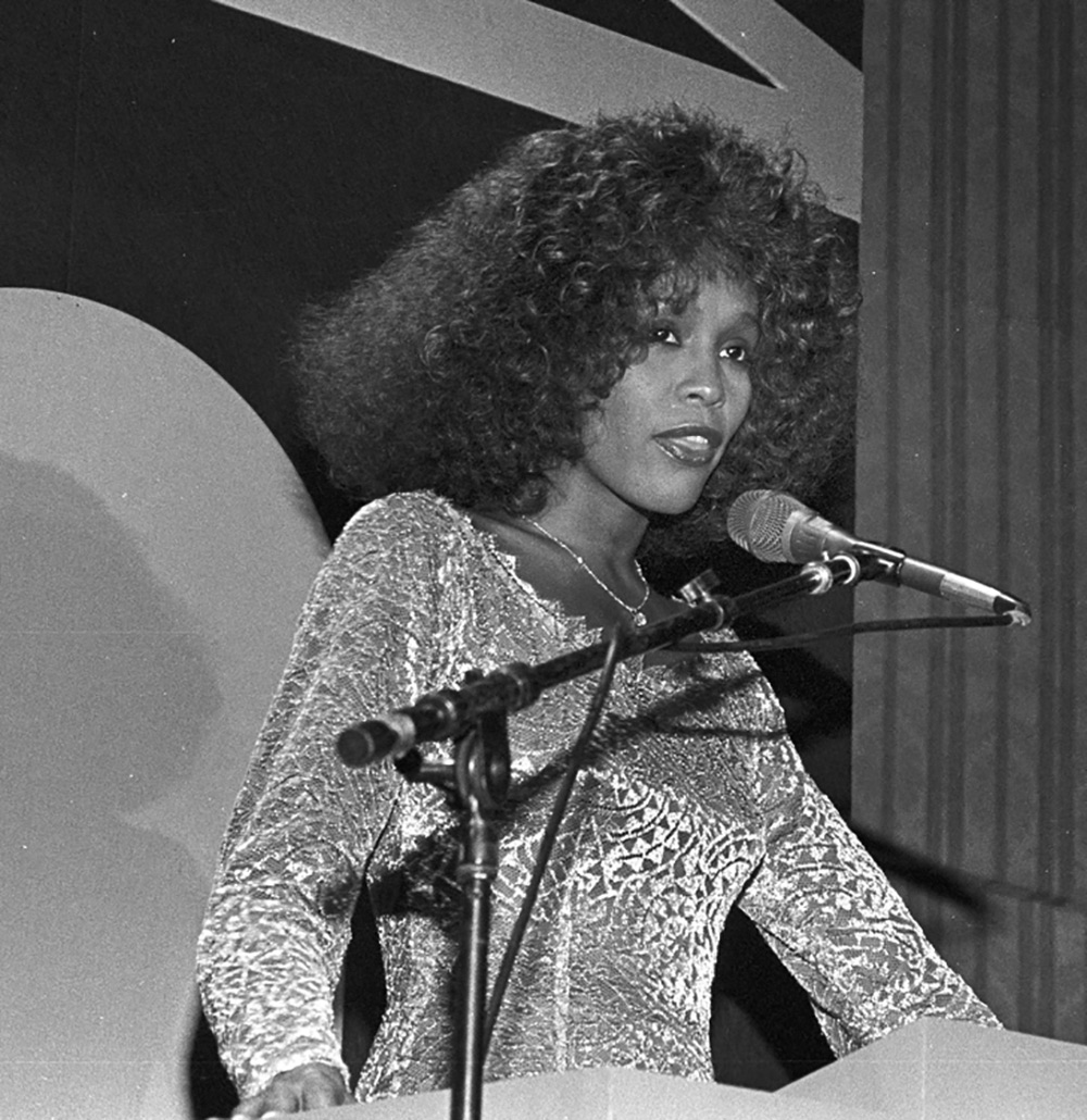 Whitney Houston accepts Howie Richmond Hitmaker Award at Songwriters Hall of Fame May 30, 1990