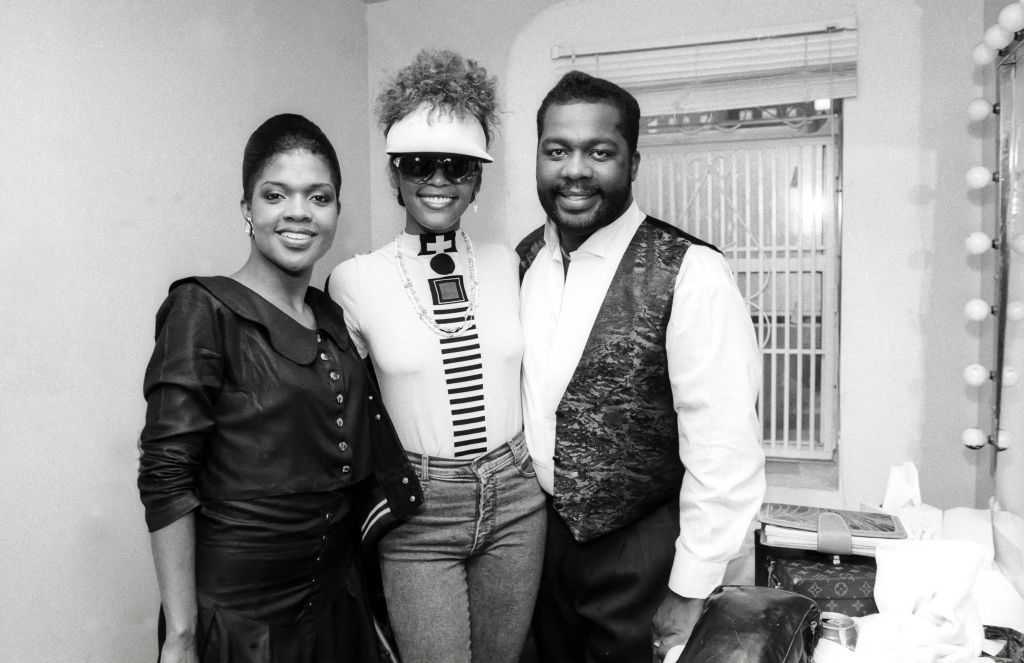 Whitney Houston backstage at Apollo Theater with BeBe and CeCe Winans May 15, 1989