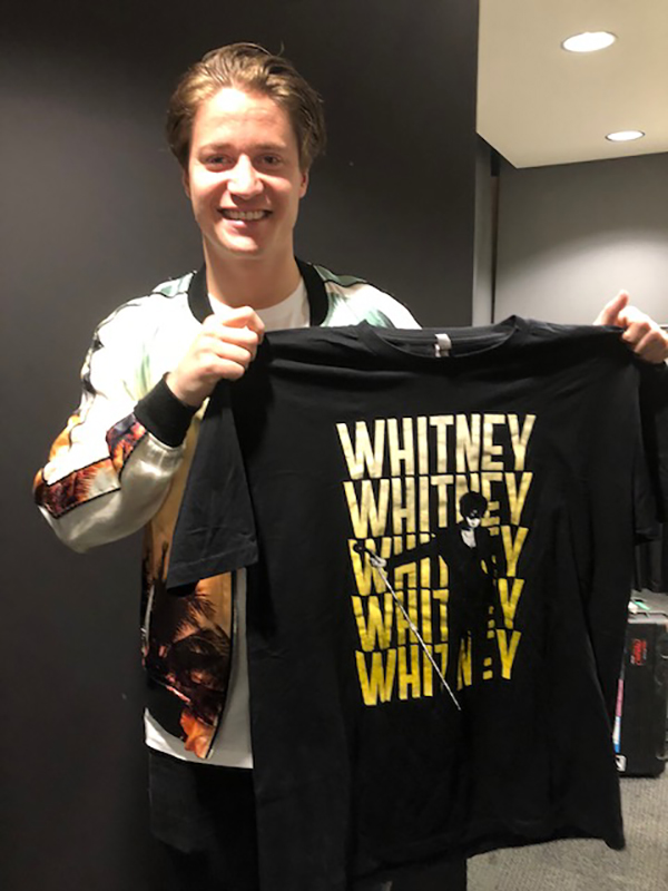 Kygo presented with Whitney Houston T-shirt at Pride event at New York Jacob Javits Center June 30, 2019