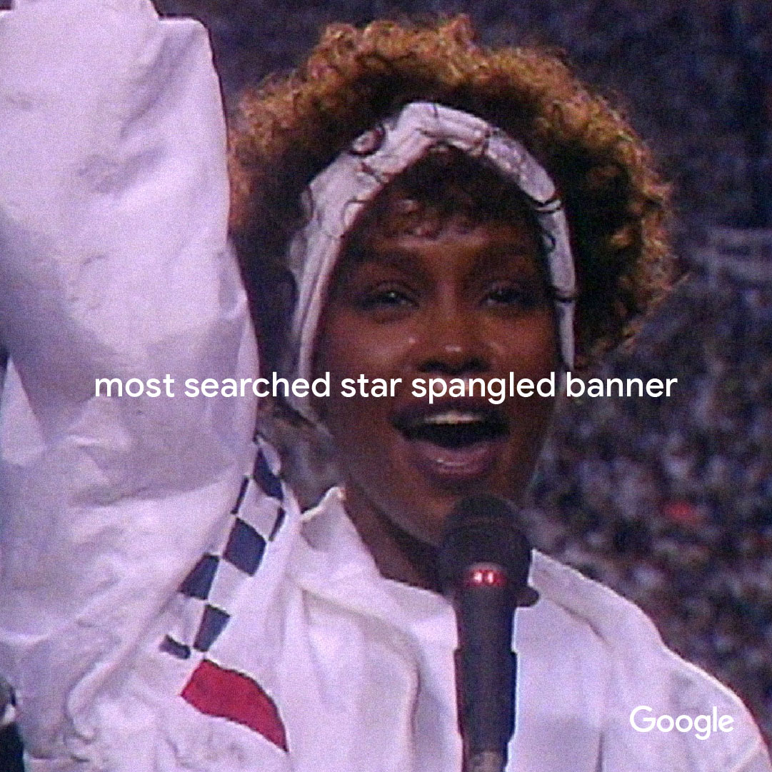 Whitney Houston most search Star Spangled Banner on Google