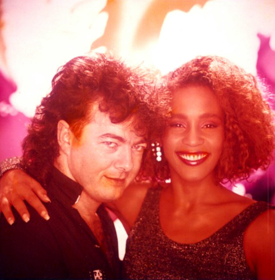 Whitney Houston and director Brian Grant on the set of the How Will I Know music video