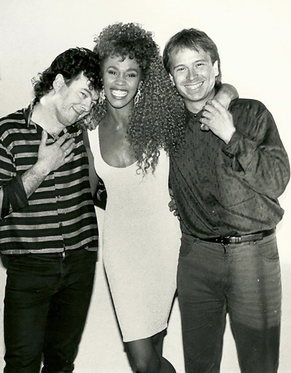 Whitney Houston, Brian Grant and Peter Baron on the set of I Wanna Dance With Somebody (Who Loves Me) music video
