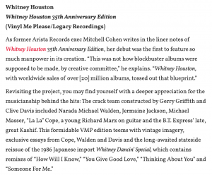 Spin Magazine Highlights The Whitney Houston 35th Anniversary Boxed Set