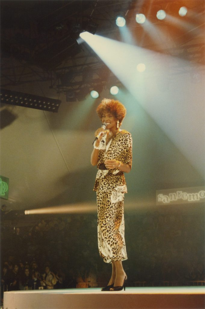 Whitney Houston performs in Sanremo, Italy. Photo courtesy of The Estate of Whitney E. Houston.