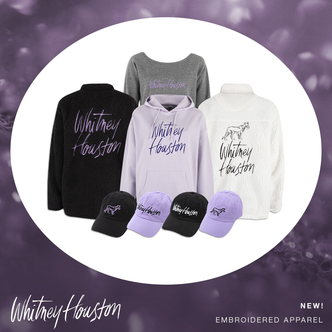 Whitney Houston embroidered apparel