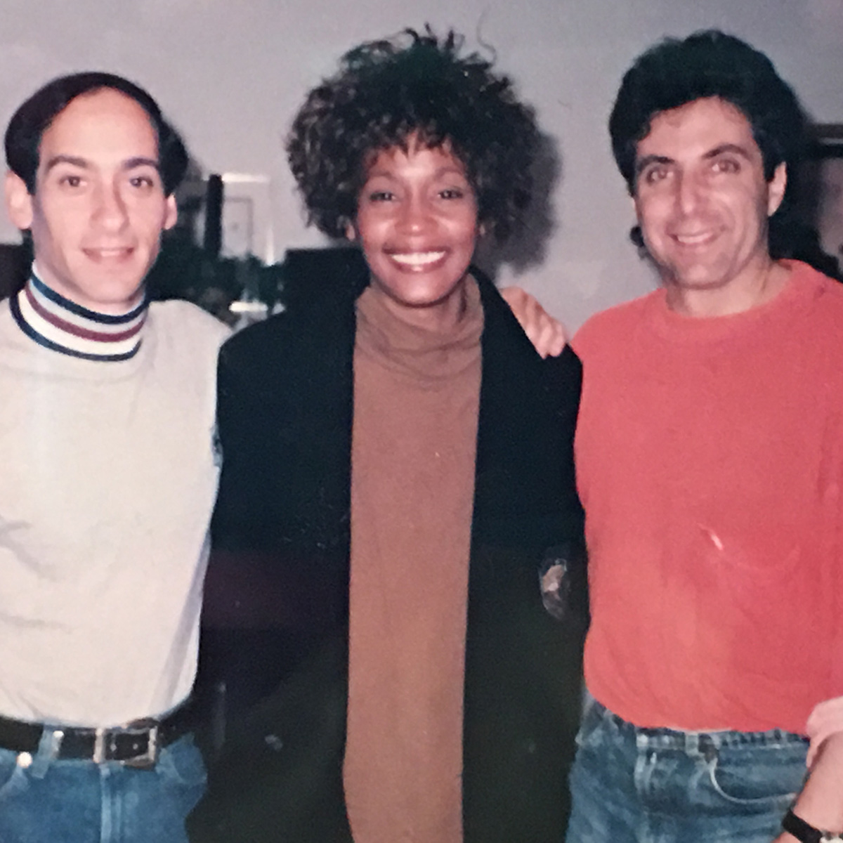 Whitney Houston with Allan Rich and Jud Friedman in studio to record Run To You