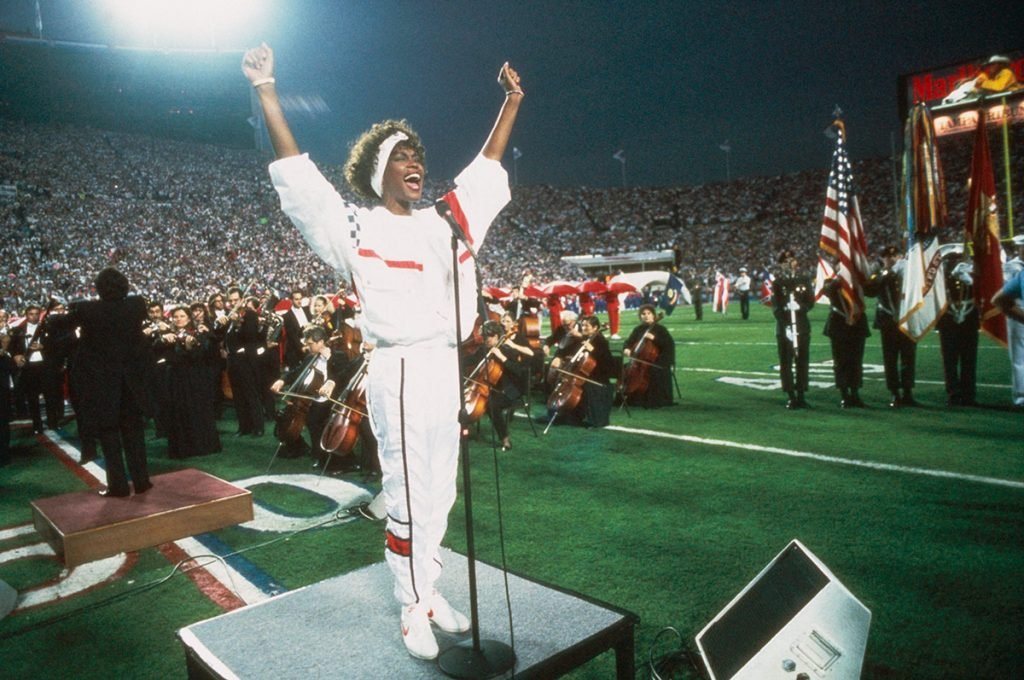 Whitney Houston performs The Star Spangled Banner at Super Bowl XXV on January 27, 1991