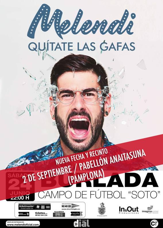 Nueva fecha concierto Quítate las Gafas de Melendi en Pamplona